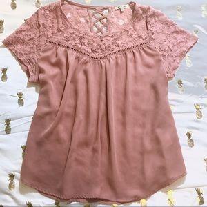 Pink Lace-Panel Short Sleeve Blouse - Large